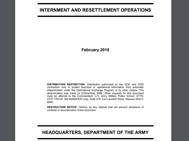 Restricted U.S. Army Internment and Resettlement Operations Manual